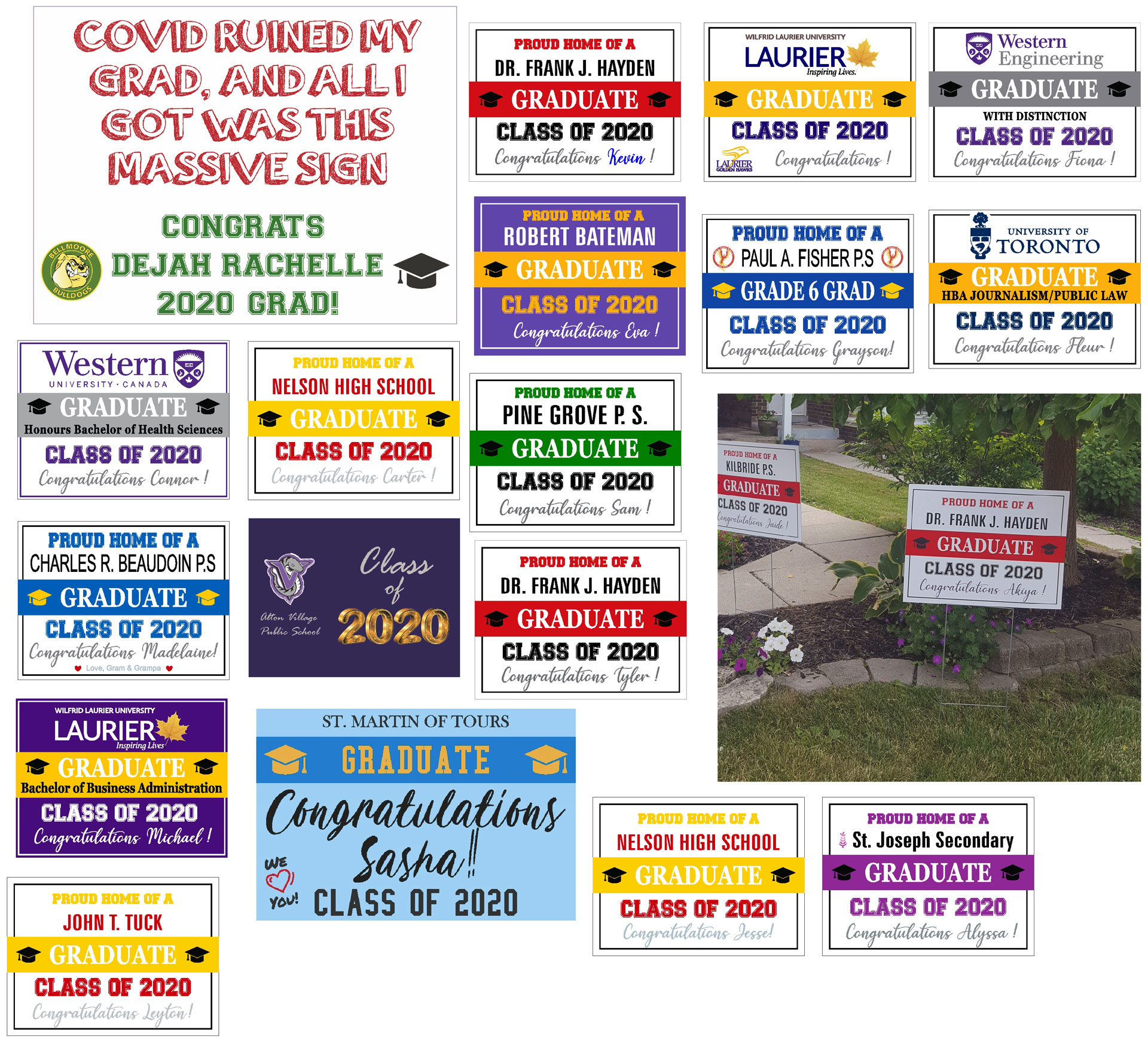 Assorted Graduation signs